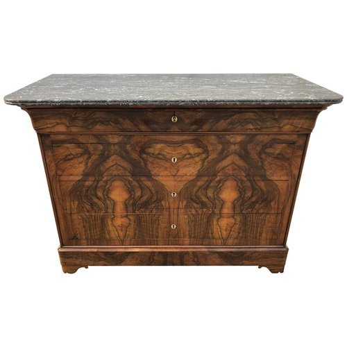 Louis Philippe Walnut and Marble Commode
