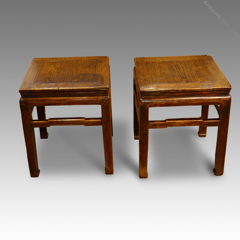 Pair Of Antique Chinese Elm End Tables ...