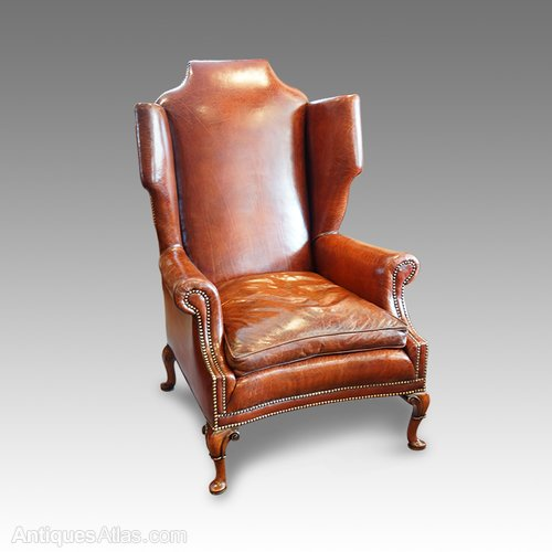 Wondrous Superb Queen Anne Style Walnut And Leather Wing Chair Creativecarmelina Interior Chair Design Creativecarmelinacom