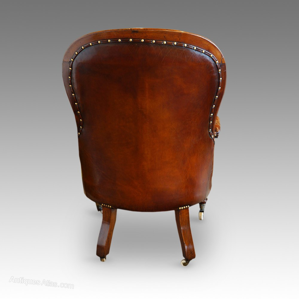 Victorian Turned Leg Leather Reading Chair Antique Reading Chairs Victorian  turned leg ... - Victorian Turned Leg Leather Reading Chair - Antiques Atlas