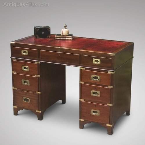 - 19th Century Mahogany Campaign Desk - Antiques Atlas