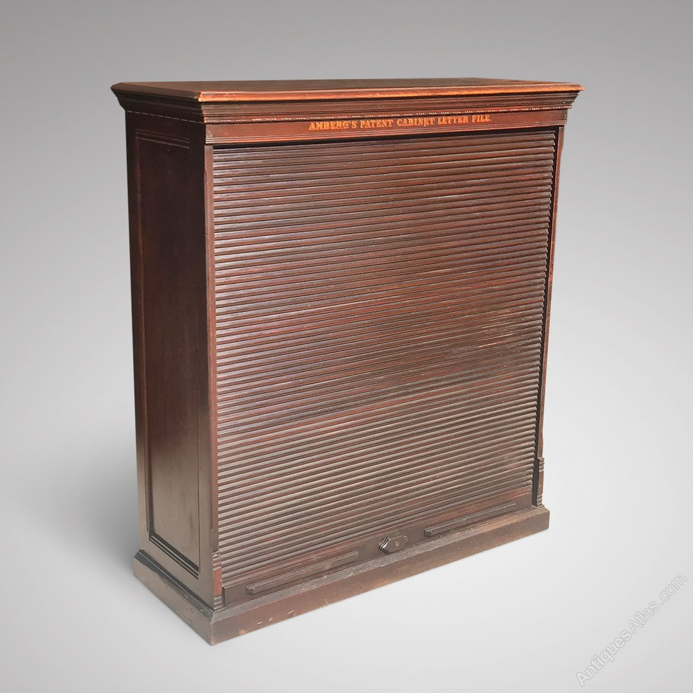 Amberg Mahogany Filing Cabinet With Tambour Front