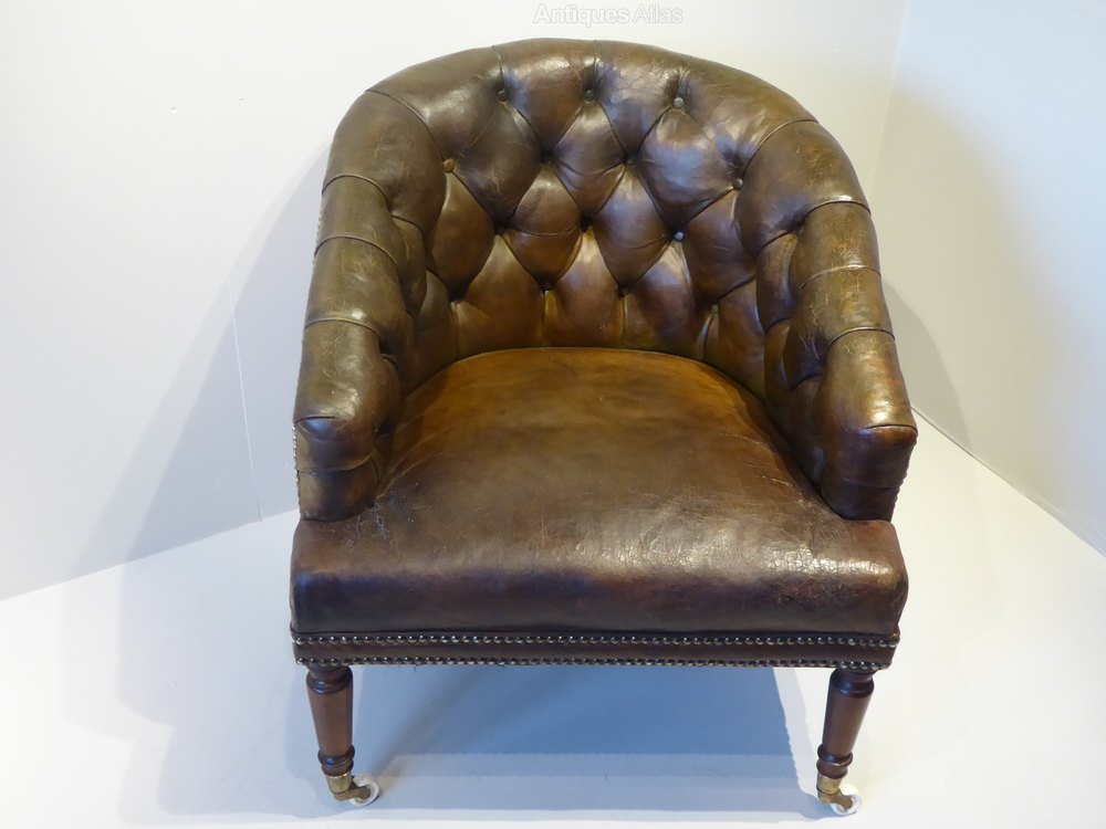 deep buttoned leather tub chair antiques atlas
