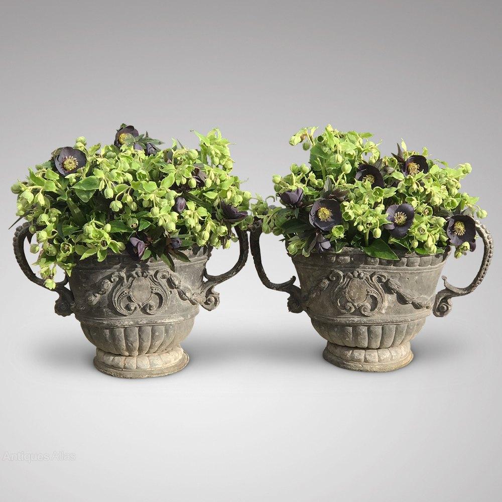 Antiques Atlas - Pair Of 18th Century Decorative Lead Garden Urns