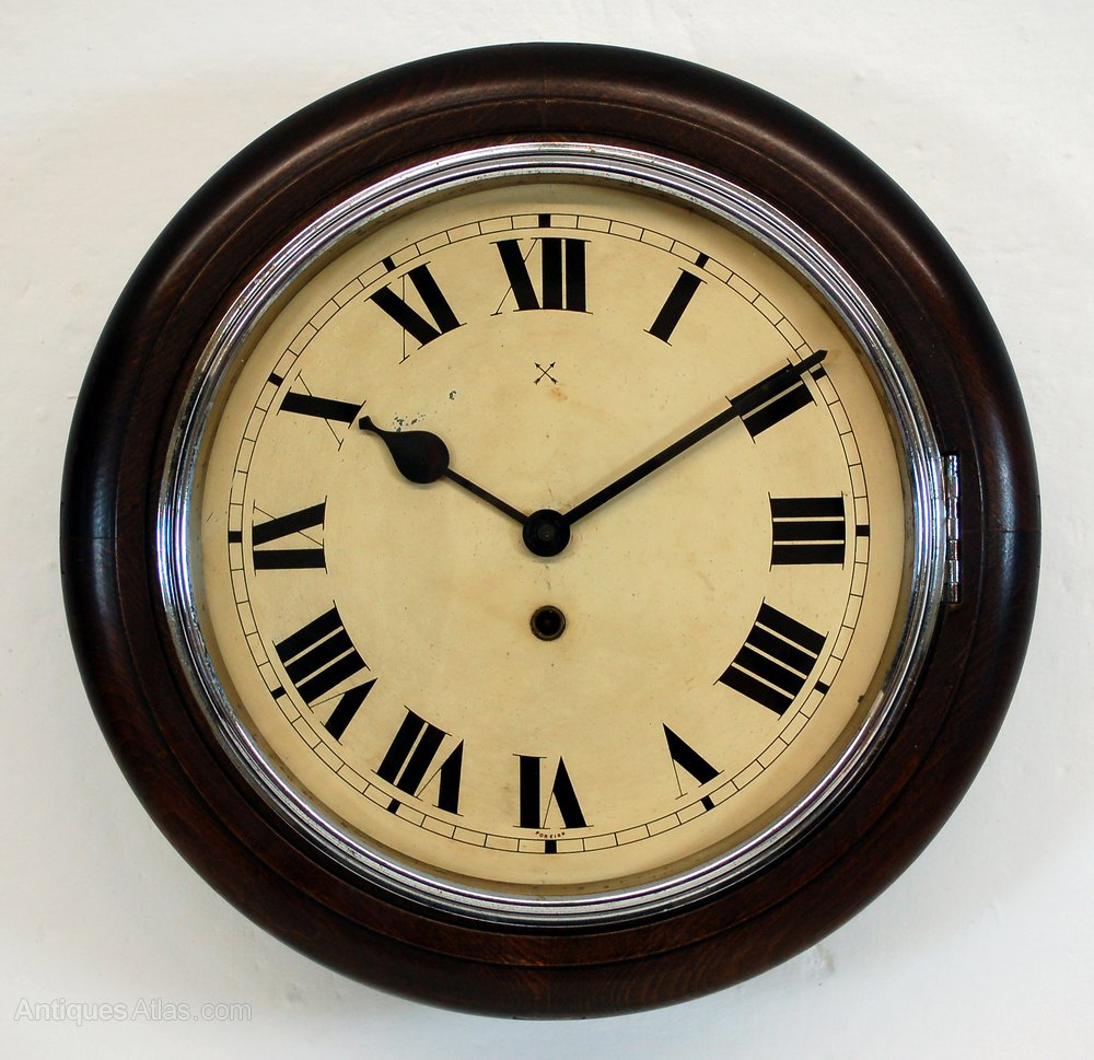 Antique Kitchen Clock With Chrome Bezel
