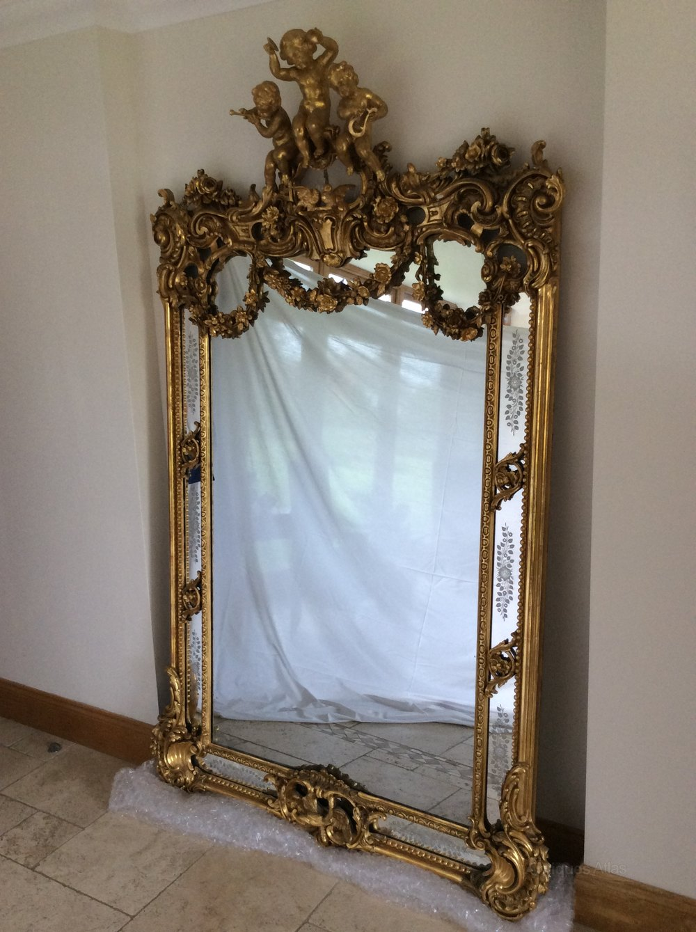 Doves For Sale >> Antiques Atlas - Huge French 19th Century Gilt Margin Glass Mirror