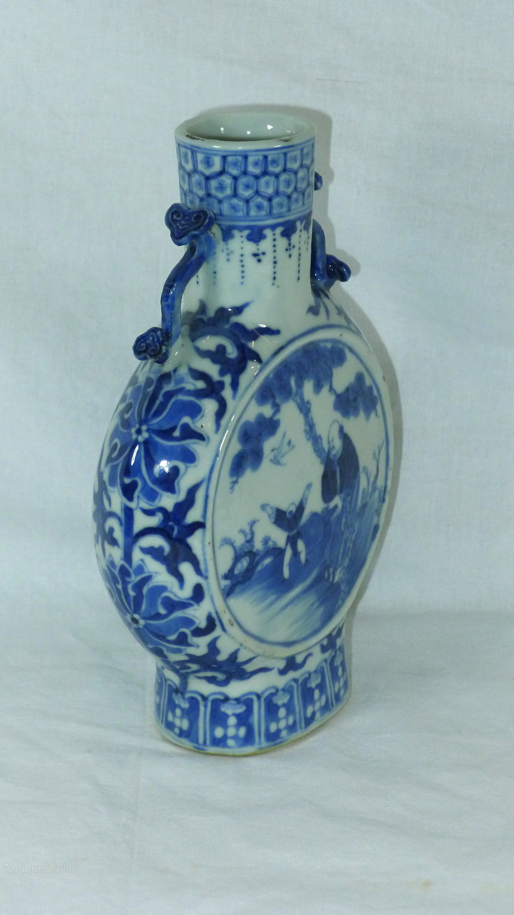 Antiques Atlas 19th C Chinese Blue And White Moon Flask Vase
