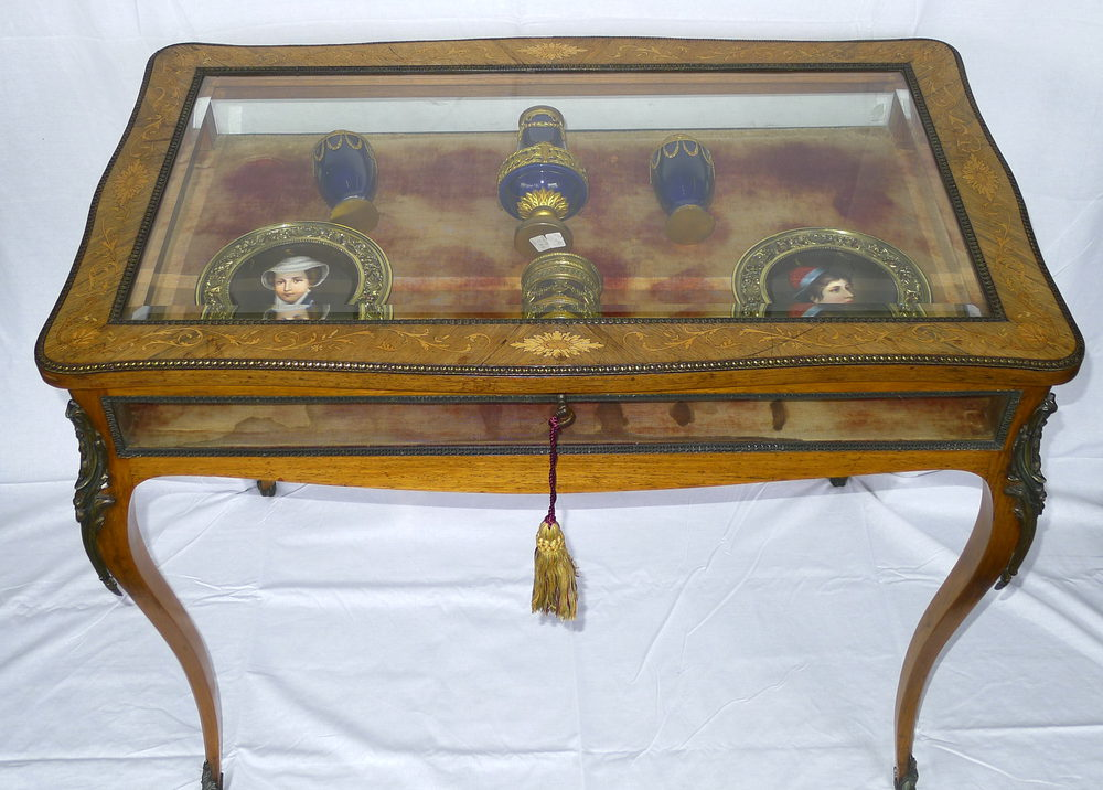 19th C French Marquetry Table Display Cabinet ...