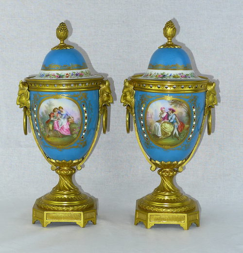 Antiques Atlas Pair 19th C French Sevres Lidded Vases