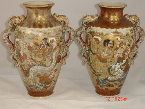 Antiques Atlas Pair 19th C Japanese Satsuma Vases