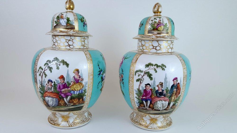 Antiques Atlas Pair Of 19th Century Hand Painted Meissen Vases