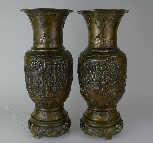 Antiques Atlas Quality Pair 19th C Japanese Bronze Vases