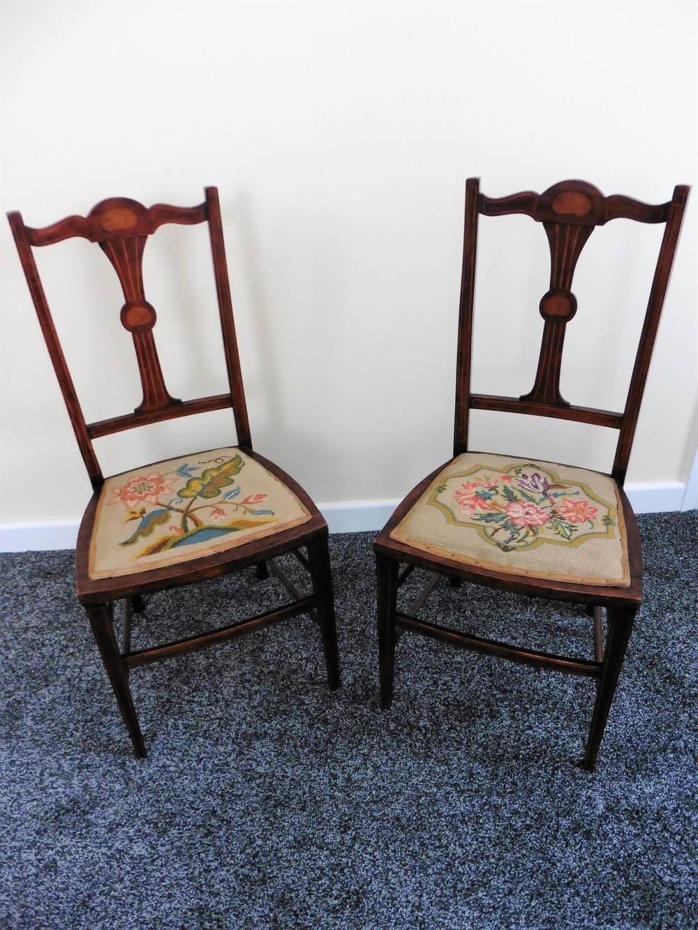 Pair of Rosewood Inlaid Embroidered Bedroom Chairs Antique ...