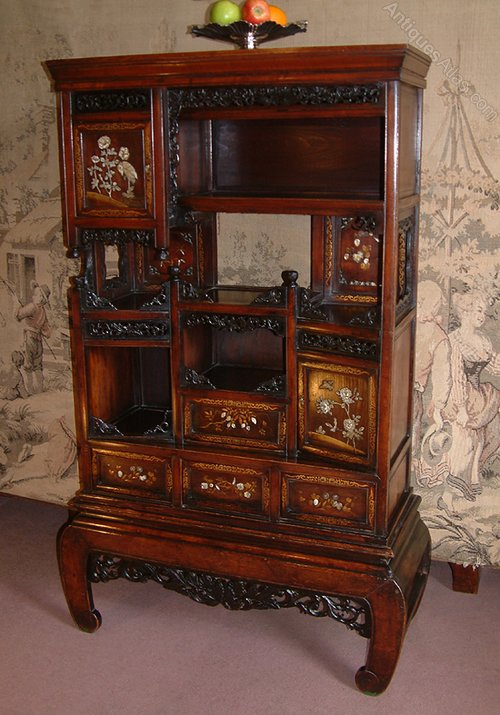 Japanese meiji period inlaid shodana cabinet antiques atlas