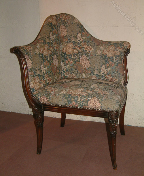 Mahogany Upholstered Chair Antique Corner Chairs - Mahogany Upholstered Chair - Antiques Atlas