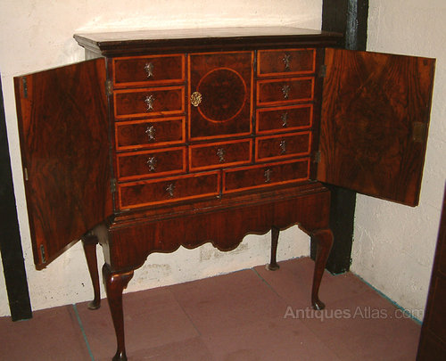 Queen Anne Period Walnut Cabinet On Stand - Antiques Atlas
