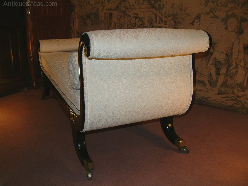 Regency period scrolled end chaise longue antiques atlas for Antique chaise longue for sale uk