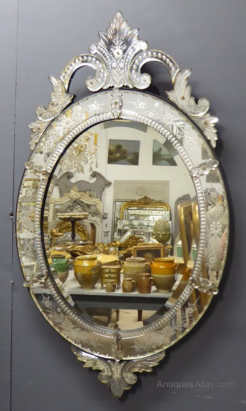 Antiques Atlas Large Oval Crested Antique Venetian Mirror