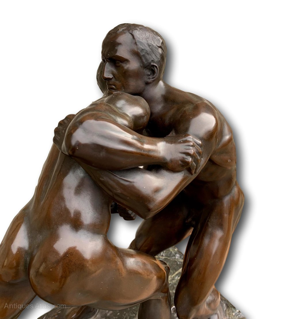 Antiques Atlas - Victorian Bronzed Sculpture Of Nude Wrestlers