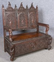 ... Antiques Of Wilton · Anglo Indian Hall Seat Bench