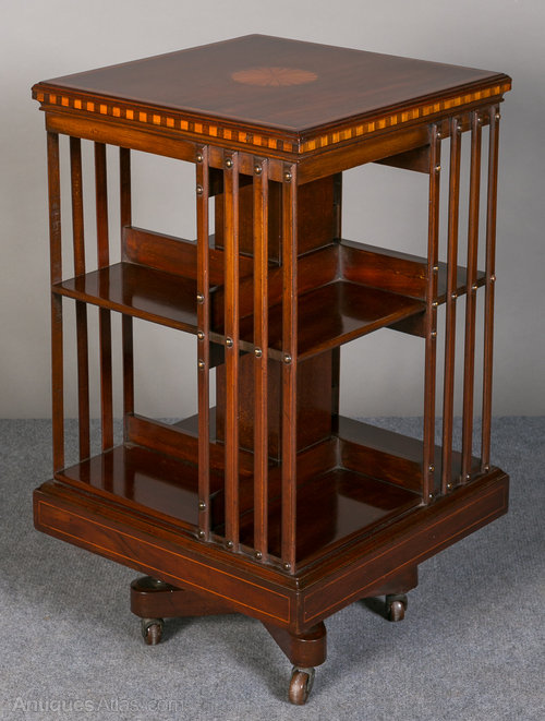 Bookcases Antique Mahogany Inlaid Revolving Bookcase
