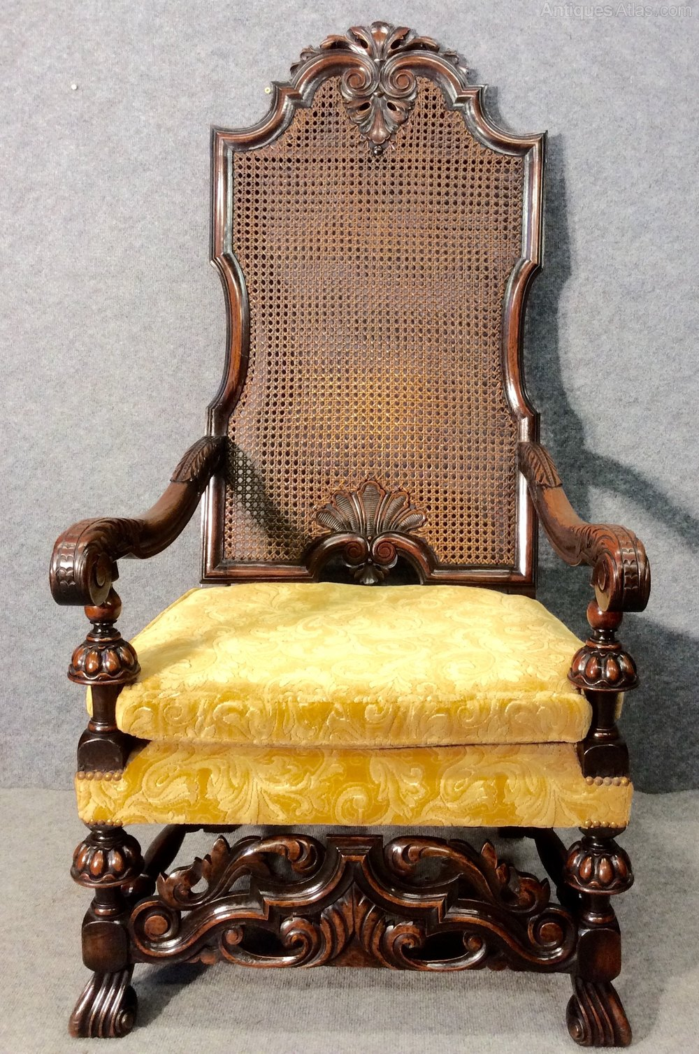 Antique Walnut Throne Chair / Armchair / Elbow Chair ...