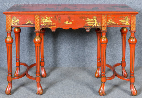 Chinoiserie Red Lacquered Console Table ...