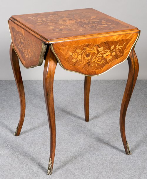 French Marquetry Drop Leaf Table Antiques Atlas