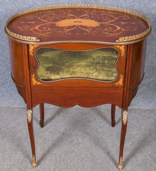 Inlaid Kidney Shaped Lamp Or End Table
