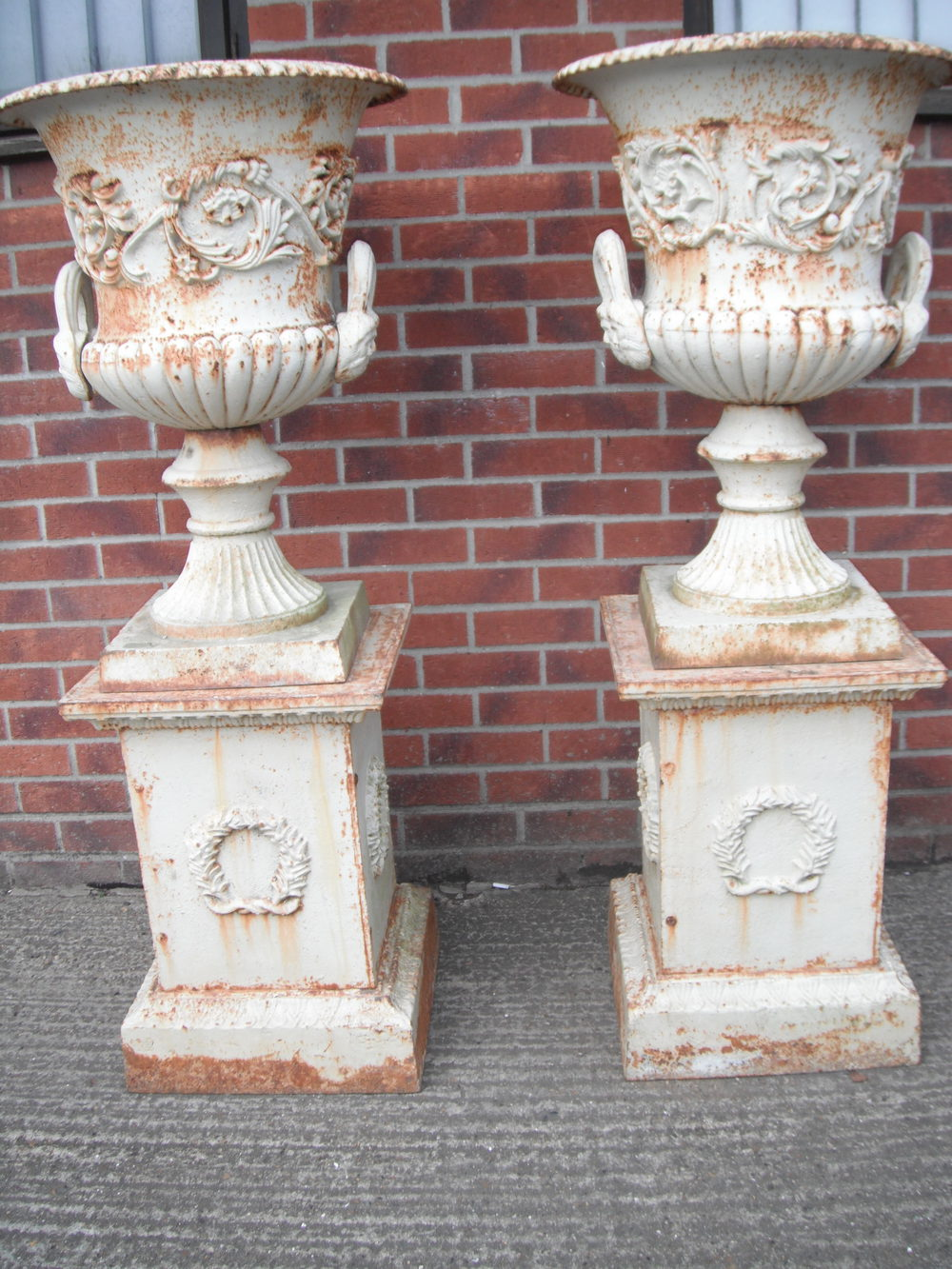 Large Pair Of Cast Iron Garden Urns