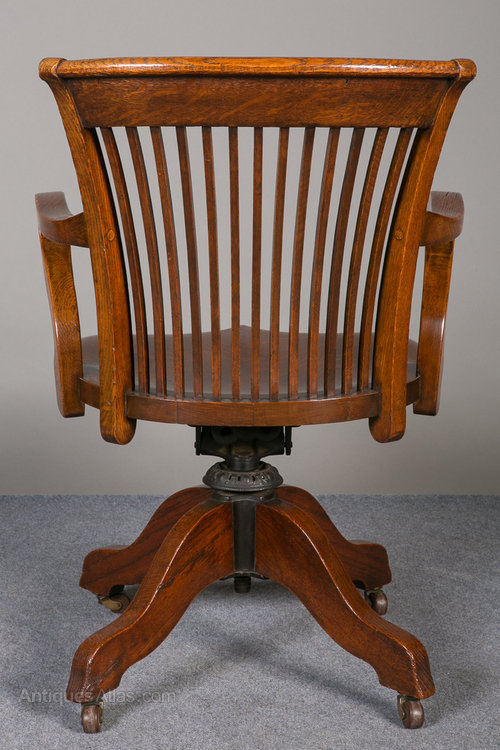 Antique Swivel and Revolving Chairs desk chair swivel ... - Oak Swivel & Reclining Desk Chair. - Antiques Atlas
