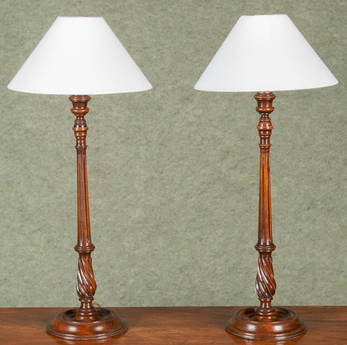 Pair Of Antique Candlestick Lamps ...