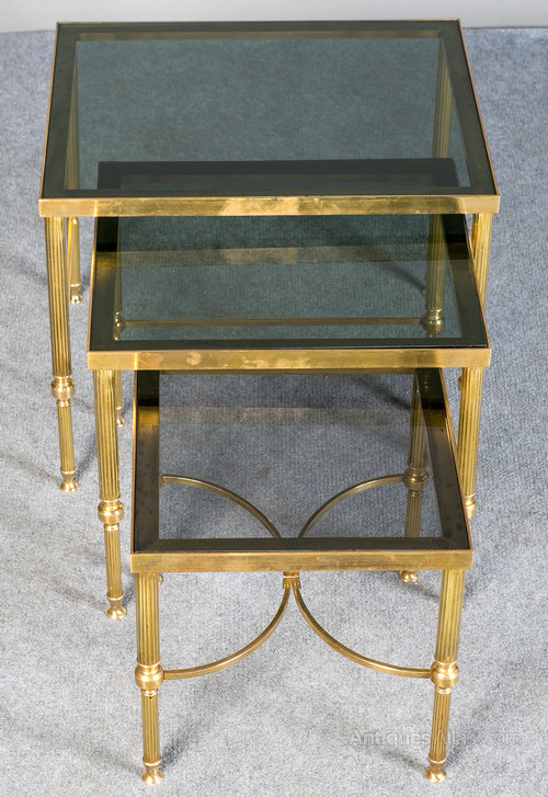 Antiques atlas retro nest of brass and glass tables retro nest of brass and glass tables watchthetrailerfo