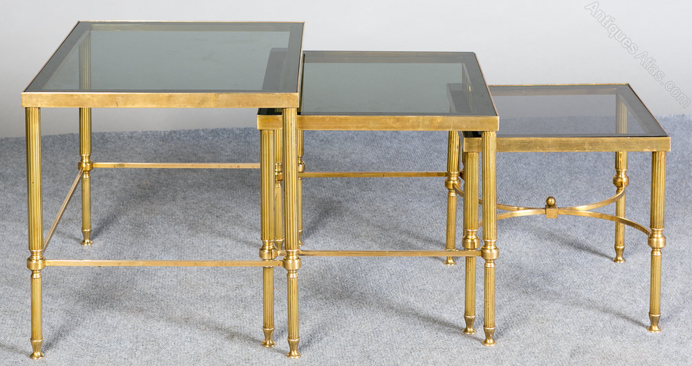 Retro Nest Of Brass And Glass Tables Vintage And Retro Occasional Tables  Nest Of Tables Retro ...