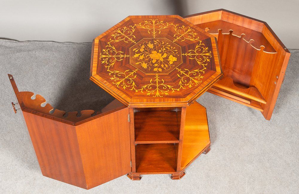 Unusual Coffee/ Lamp Table Inlaid Drinks Cabinet - Antiques Atlas
