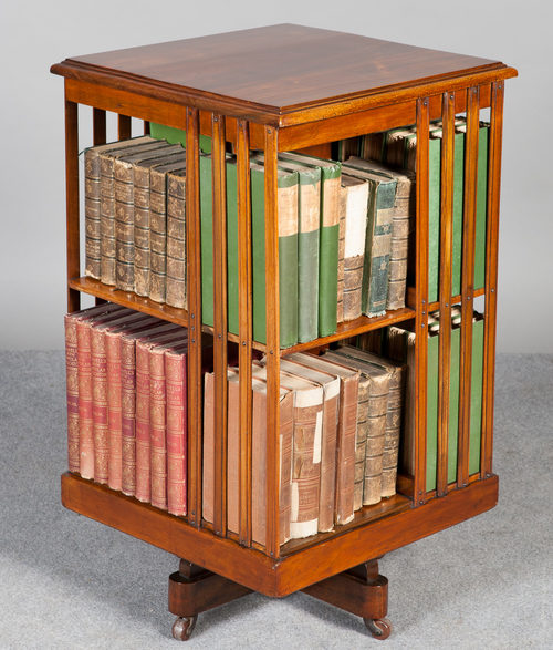 Rotating Bookshelves: Walnut Revolving Bookcase