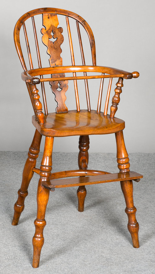 Yew Wood Windsor Childs Highchair Antique ... - Yew Wood Windsor Child's Highchair - Antiques Atlas
