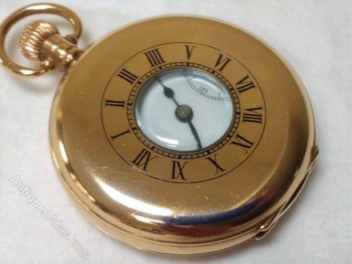 7d5b25b3f Antiques Atlas - 9ct Gold Swiss 17 Jewel Half Hunter Pocket Watch