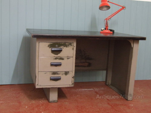 1950s English Steel Office Desk