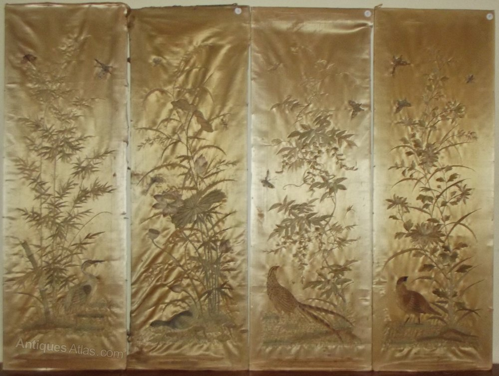 Antiques Atlas 4 Large Chinese Silk Embroidery Panels
