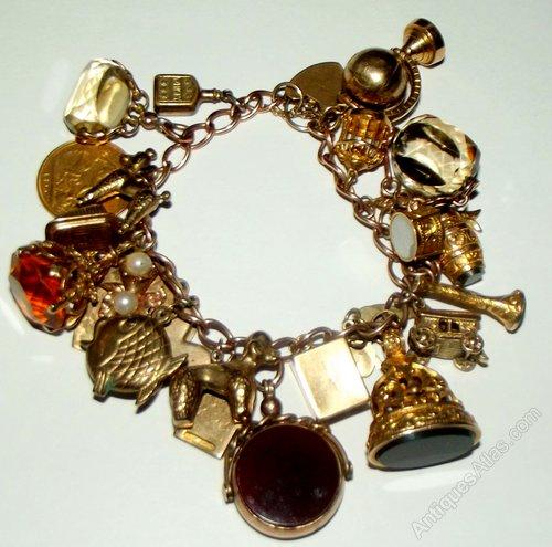 A Heavy Victorian Gold Charm Bracelet
