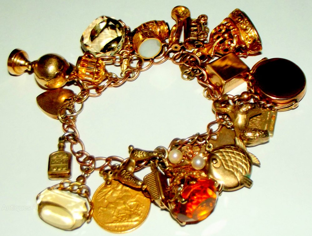 f2444c5ba4fbb Antiques Atlas - A Heavy Victorian Gold Charm Bracelet