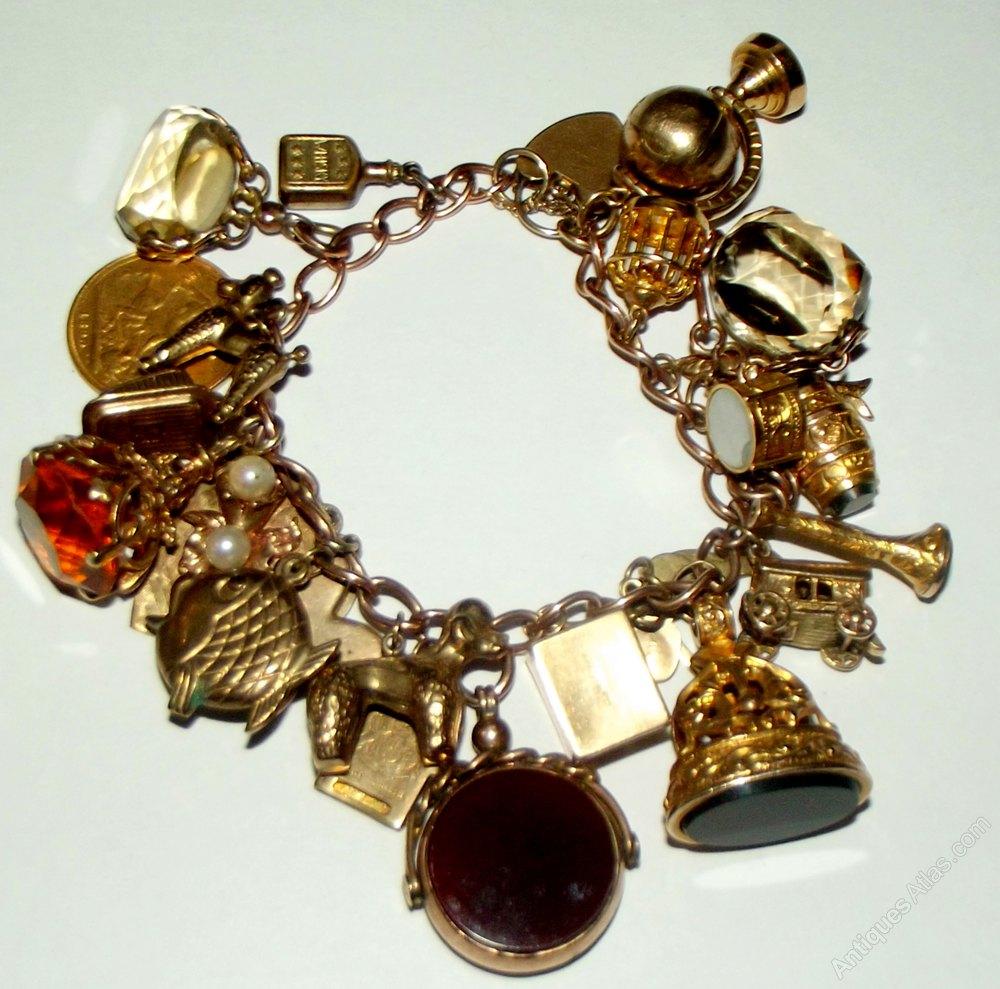 Charm Bracelets Gold: A Heavy Victorian Gold Charm Bracelet