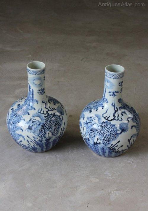 Pair Chinese Blue White Bottle Vases