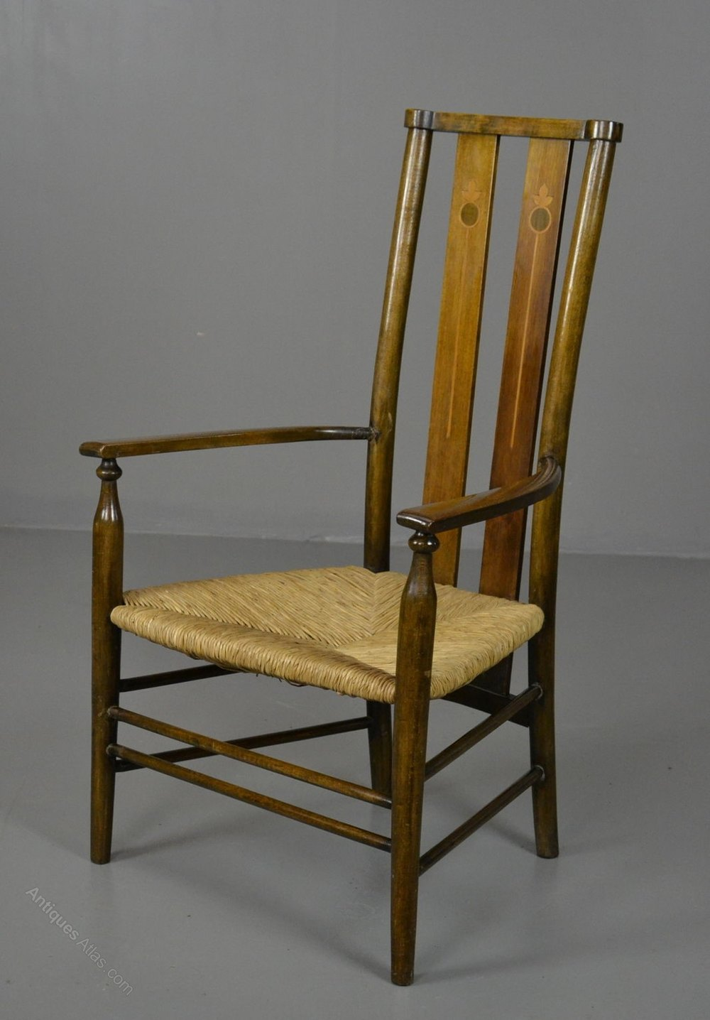 Small Edwardian Arts Amp Crafts Beech Amp Rush Chair