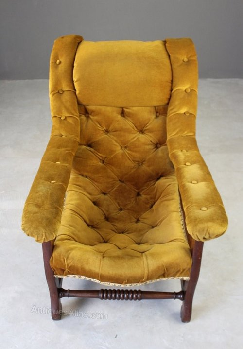 Upholstered Button Back Open Arm Chair Antiques Atlas