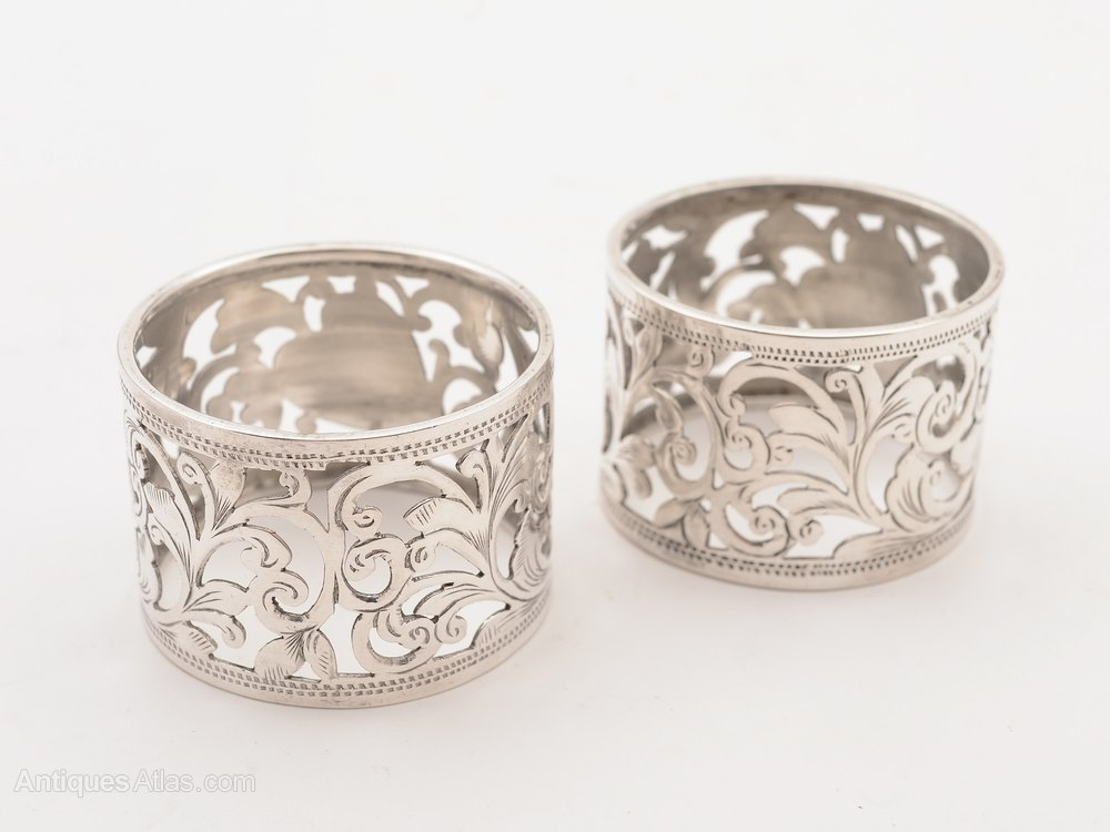 antiques atlas pair of victorian silver napkin rings