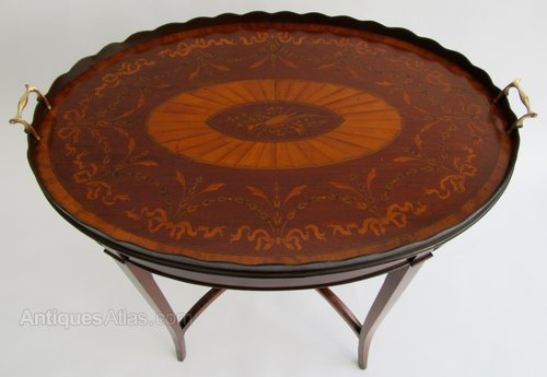 Enjoyable Edwardian Mahogany Inlaid Oval Tray Table Gamerscity Chair Design For Home Gamerscityorg