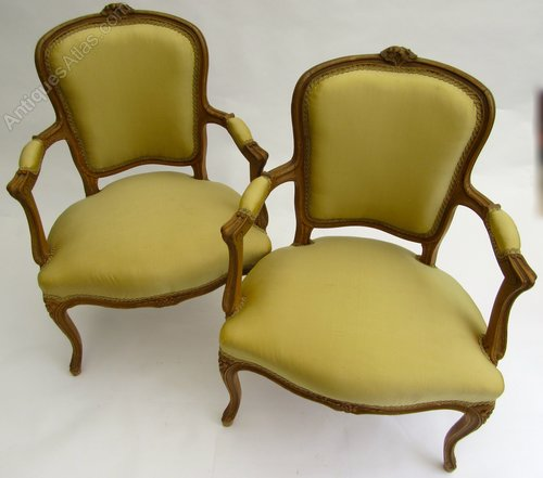 French Fauteuil Salon Chairs - French Fauteuil Salon Chairs - Antiques Atlas