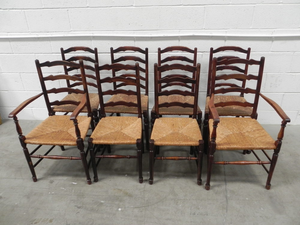 8 Country Ladder Back Rush Seat Chairs ...